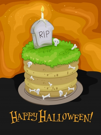 Halloween Illustration Featuring a Tomb-shaped Cake with a Headstone on Top