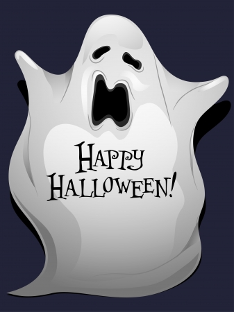Illustration of a Ghost with Halloween Greetings Written Over it illustration