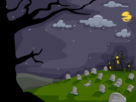 churchyard: Background Halloween Illustration Featuring a Graveyard Full of Tombs