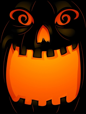 Background Halloween Illustration of a Jack-o-Lantern with its Mouth Wide Open illustration