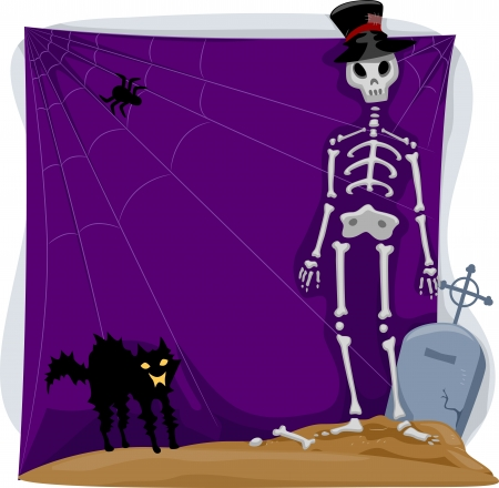 Background Halloween Illustration Featuring a Skeleton and a Black Cat illustration