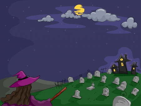 churchyard: Background Halloween Illustration Featuring a Witch in a Cemetery Stock Photo