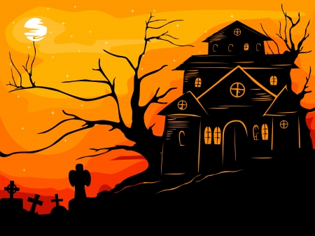 haunted house: Halloween Illustration Featuring the Silhouette of a Haunted Framed by the Reddish Orange Sunset Stock Photo