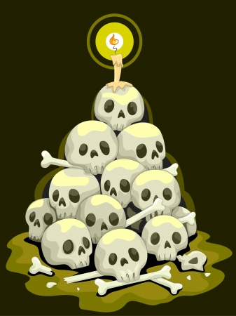 Halloween Illustration Featuring a Stack of Skulls illustration
