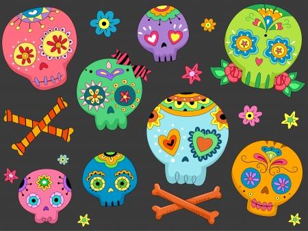 calaveras: Ilustraci�n de Halloween que ofrece coloridas calaveras de az�car Foto de archivo