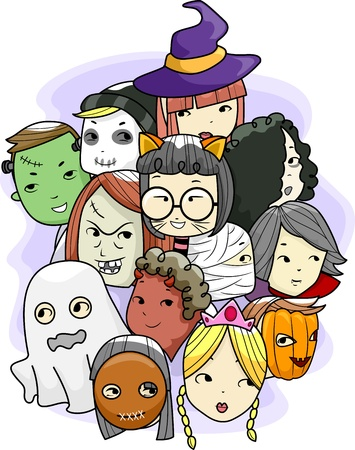 animal masks: Halloween Illustration Featuring Different Faces Wearing Masks