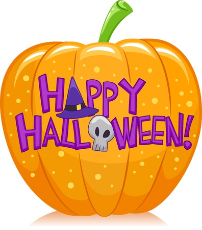 Halloween Illustration of a Pumpkin with Halloween Greetings Written Over it illustration
