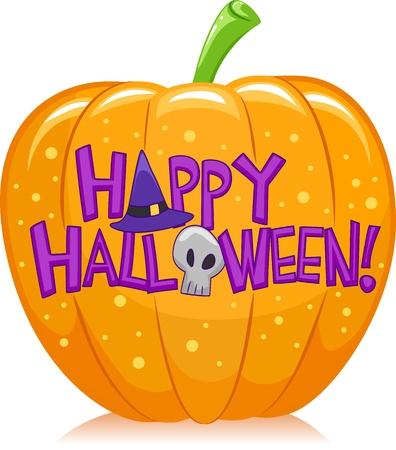 Halloween Illustration of a Pumpkin with Halloween Greetings Written Over it Stock Illustration - 15774215