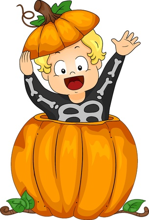 skeleton costume: Halloween Illustration Featuring a Kid Emerging from a Large Pumpkin Stock Photo