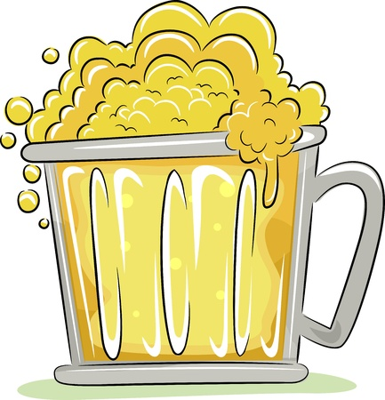 alchoholic drink: Illustration of a Beer Mug Overflowing with Fizz Stock Photo