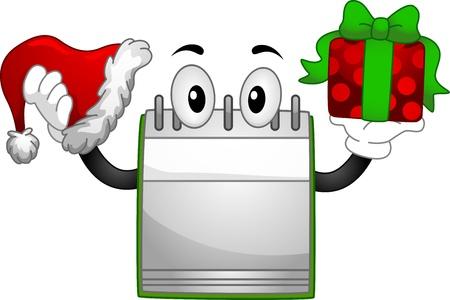 cartoon calendar: Christmas Illustration Featuring a Calendar Mascot Holding a Present and a Christmas Hat