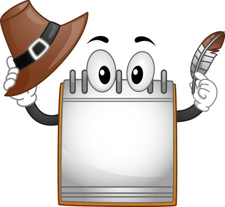 cartoon calendar: Thanksgiving Illustration Featuring a Calendar Mascot Holding a Quill Pen and a Pilgrims Hat Stock Photo