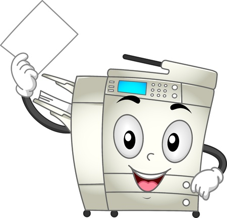 copying: Mascot Illustration Featuring a Copier Making Copies of a Document
