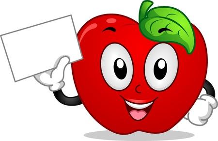 manzana caricatura: Mascot ilustración que ofrece una manzana con un cartel en blanco