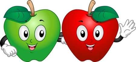 Mascot Illustration Featuring a Green Apple and a Red Apple Hanging Out Together illustration