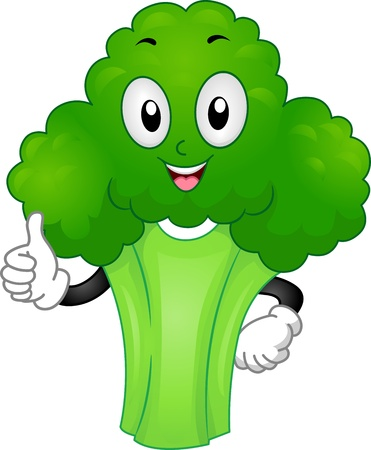 vegetable cartoon: Mascot Illustration Featuring a Broccoli Giving a Thumbs Up Stock Photo