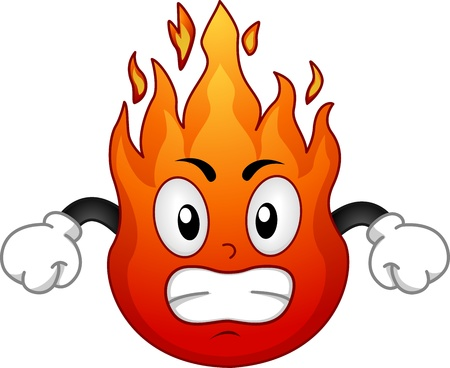 pissed off: Mascot Illustration Featuring an Angry Fire in a Fighting Stance - Hot Headed Stock Photo