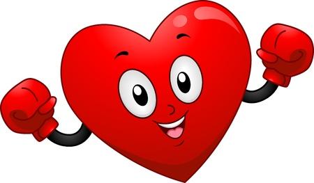 guantes de boxeo: Mascot Ilustraci�n de un coraz�n con guantes de boxeo