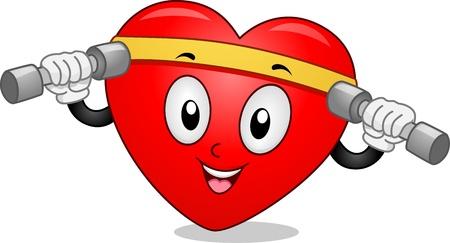 Mascot Illustration Featuring a Heart Lifting Dumbbells illustration