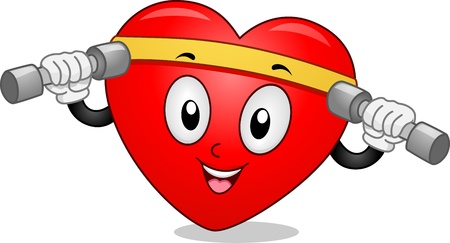 Mascot Illustration Featuring a Heart Lifting Dumbbells