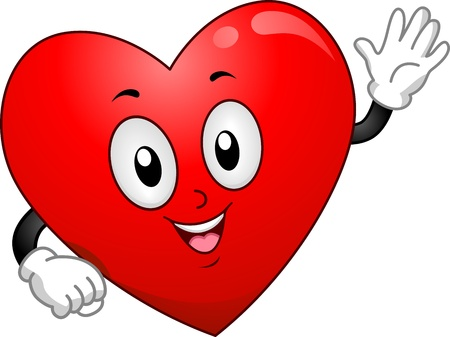 Mascot Illustration Featuring a Heart Waving His Hand Stock Illustration - 15774260
