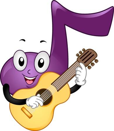 instrumentos musicales: Mascot ilustraci�n que ofrece una nota de la m�sica Tocar la Guitarra