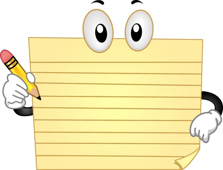 Mascot Illustration Featuring a Yellow Pad Holding a Penc illustration