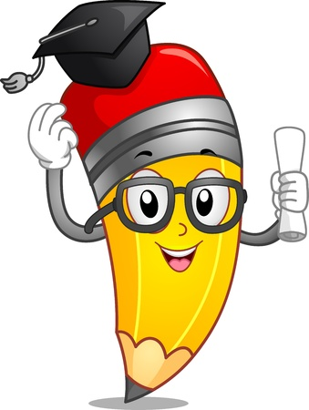 Mascot Illustration Featuring a Pencil Wearing a Graduation Cap and Holding a Diploma Stock Illustration - 15774275