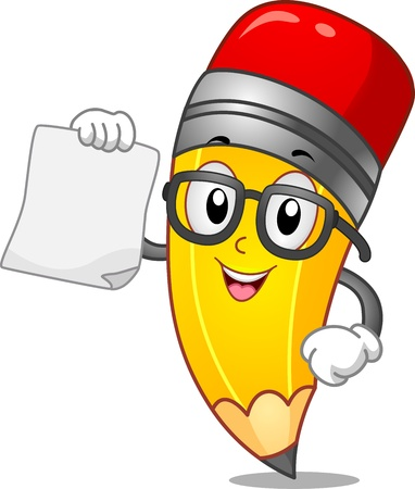 Mascot Illustration of a Pencil Holding a Blank Piece of Paper illustration