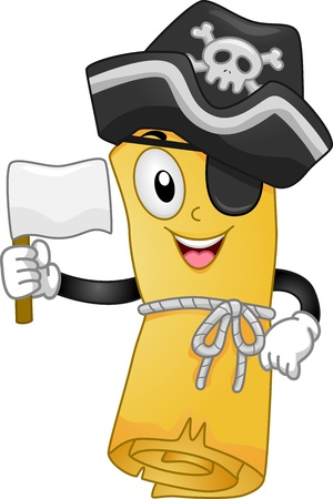 Mascot Illustration of a Pirate Treasure Map Holding a Flag