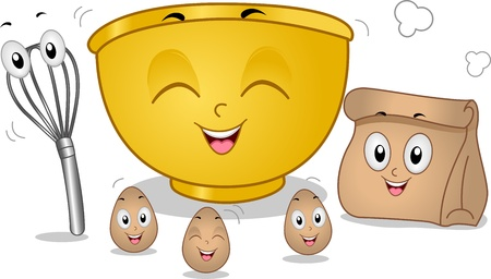 egg whisk: Mascot Illustration Featuring Eggs, an Egg Beater, a Mixing Bowl, and a Paper Bag Stock Photo