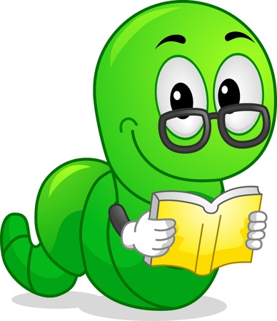 cartoon reading: Mascot Illustration Featuring a Worm Reading a Book