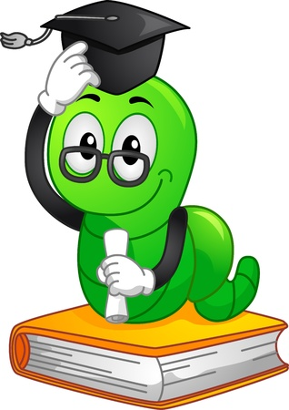bookworm: Mascot Illustration Featuring a Bookworm Wearing a Graduation Cap and Holding a Diploma Stock Photo
