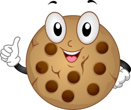 galleta de chocolate: Ilustraci�n Mascot Con una cookie Haciendo un pulgar hacia arriba