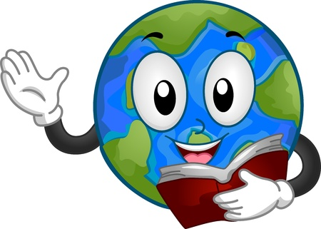 reading material: Mascot Illustration Featuring a Globe Reading a Book Stock Photo