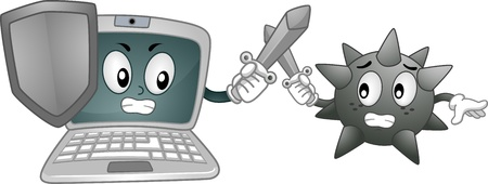 computer mascot: Mascot Illustration Featuring a Laptop and a Computer Virus Fighting Each Other