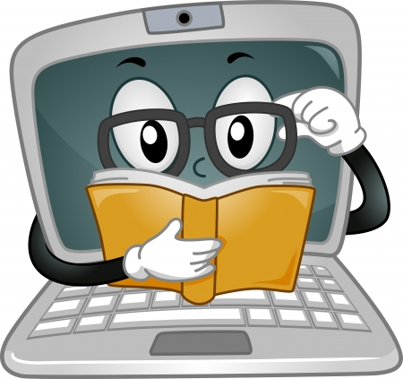 computer mascot: Mascot Illustration Featuring a Laptop Reading a Book Stock Photo