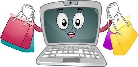 cartoonize: Mascot Illustration Featuring a Laptop Carrying Shopping Bags Stock Photo