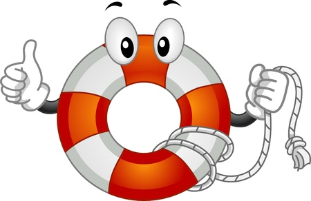 featuring: Mascot Illustration Featuring a Lifebuoy Doing a Thumbs Up