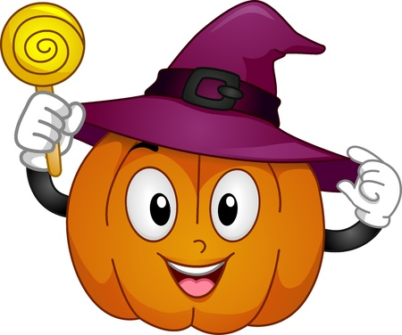 Mascot Illustration Featuring a Pumpkin Wearing a Witch Hat and Holding a Lollipop illustration
