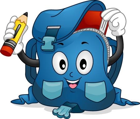 mochila: Ilustraci�n Mascot Con una mochila Poner un l�piz y un libro su interior