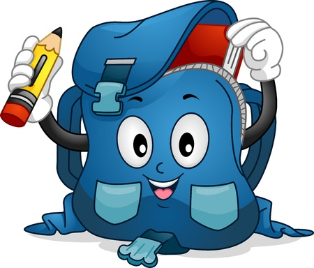school bag: Mascot Illustration Featuring a School Bag Putting a Pencil and a Book Inside it Stock Photo