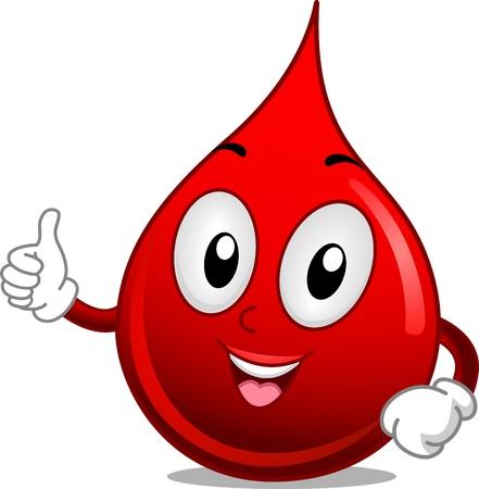 globulo rojo: Ilustraci�n Mascot Con una gota de sangre dando un pulgar hacia arriba