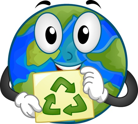 advocacy: Mascot Illustration Featuring the Earth Holding a Recycling Sign