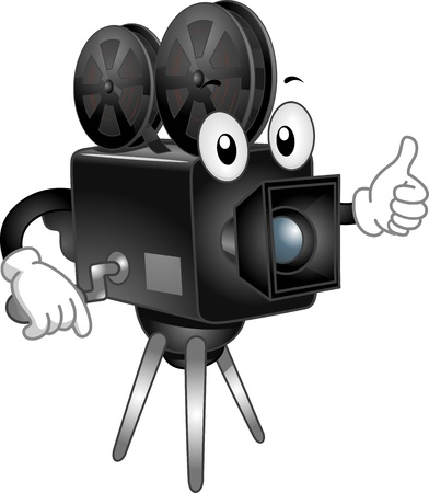 movie film reel: Mascot Illustration Featuring a Video Camera with Reels of Tape Mounted on Top