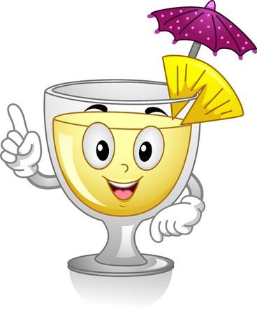 alcoholic beverage: Mascot Illustration Featuring a Pi�a Colada with a Cocktail Umbrella