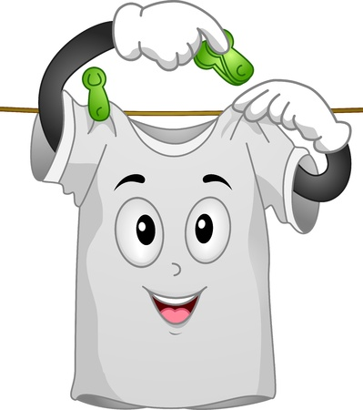 face wash: Mascot Illustration Featuring a T-shirt Hanging Itself to Dry Stock Photo