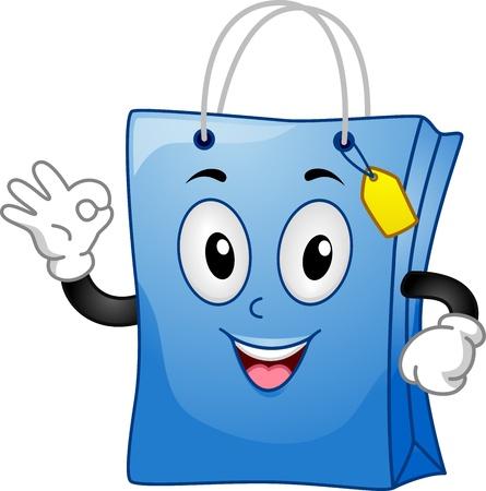 bag cartoon: Mascot Illustration Featuring a Shopping Bag Doing an Okay Sign