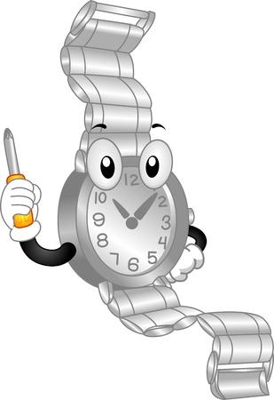 wristwatch: Mascot Illustration Featuring a Wristwatch Holding a Screwdriver