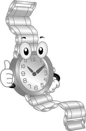 cartoonize: Mascot Illustration Featuring a Wristwatch Doing a Thumbs Up